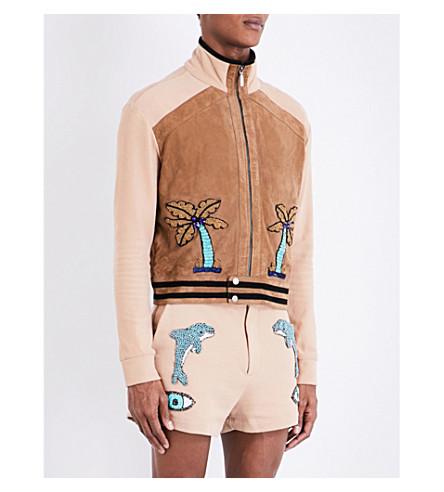 TOPMAN Design embellished suede and cotton jacket