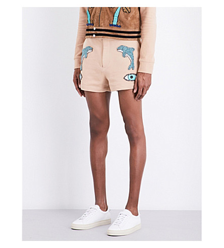 TOPMAN Design dolphin-embellished cotton shorts