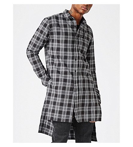 TOPMAN Checked cotton shirt (Burgundy