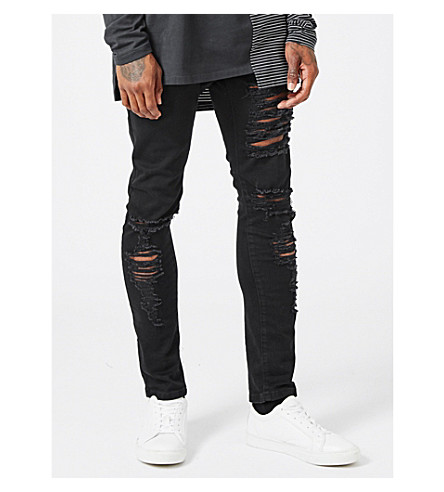 TOPMAN AAA ripped stretch skinny jeans (Black
