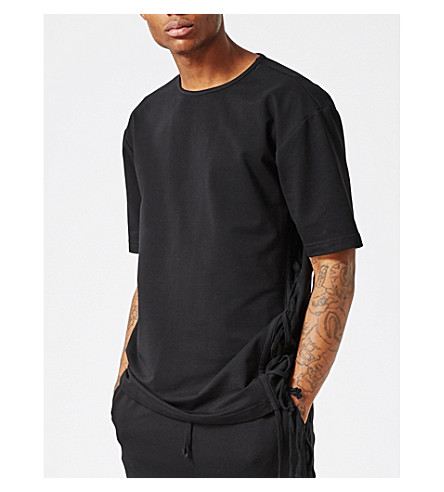 TOPMAN AAA lace-up T-shirt (Black