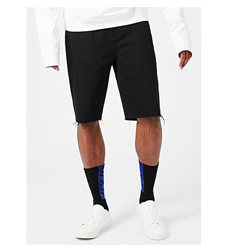 TOPMAN Aaa raw-hem regular-fit denim shorts (Black