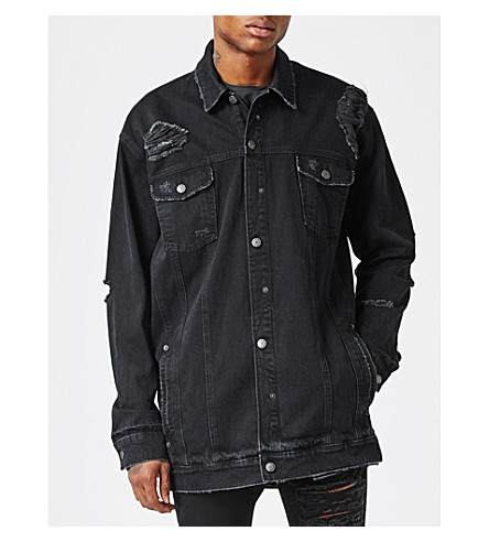 TOPMAN AAA distressed longline denim jacket (Black