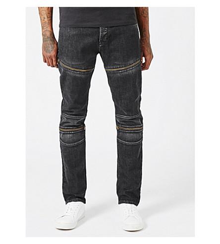 TOPMAN Aaa skinny-fit biker jeans (Black