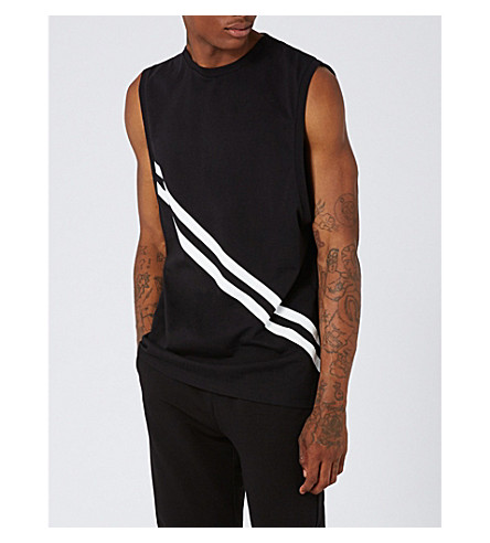TOPMAN Stripe-print cotton-jersey sleeveless top (Black