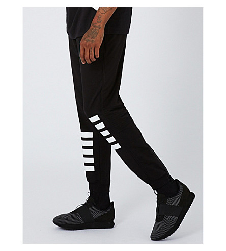 TOPMAN Stripe-print cotton-jersey jogging bottoms (Black