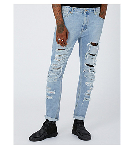 TOPMAN Shredded slim-fit skinny jeans