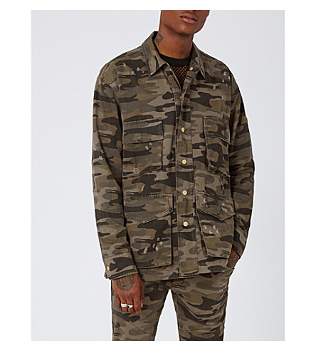 TOPMAN Camouflage-print denim jacket (Multi