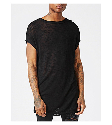 TOPMAN AAA oversized knitted T-shirt (Black
