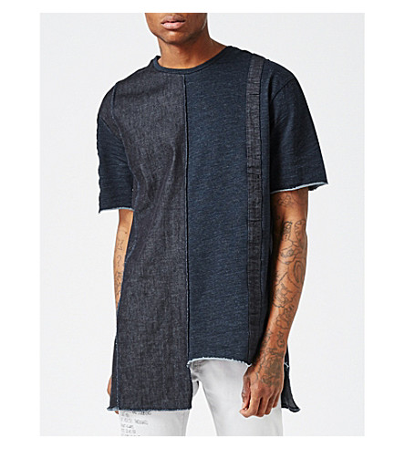 TOPMAN AAA denim patchwork T-shirt (Black