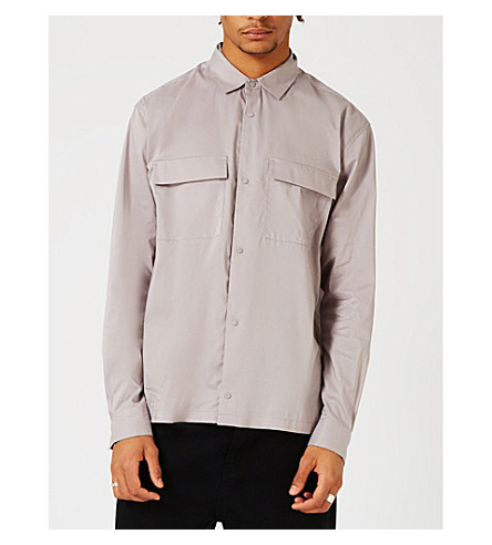 TOPMAN LTD double pocket cotton-blend shirt (Black