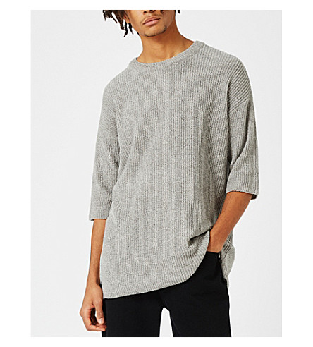 TOPMAN Topman LTD chenille T-shirt (Grey