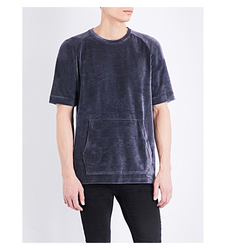 TOPMAN Ltd Boxy-fit velvet t-shirt (Dark+blue