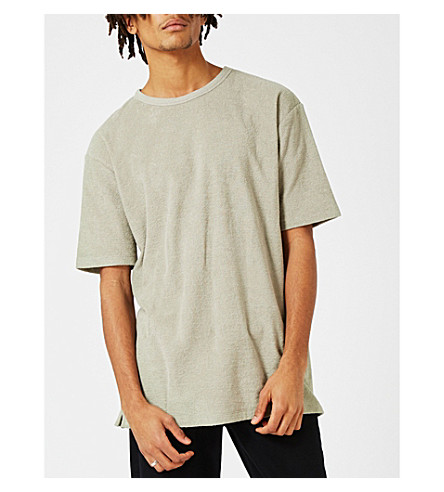 TOPMAN Textured cotton T-shirt (Dark+green