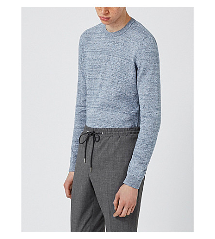 TOPMAN Speckled cotton crewneck jumper (Light+blue