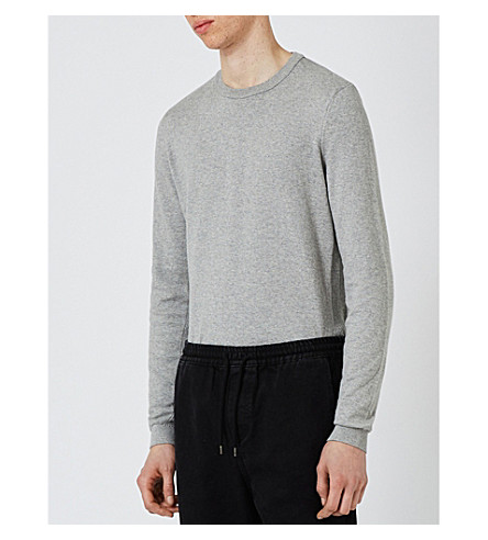 TOPMAN Marl-effect cotton-jersey jumper (Light+grey