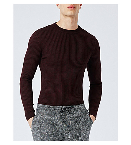 TOPMAN Muscle-fit ribbed crewneck jumper (Burgundy