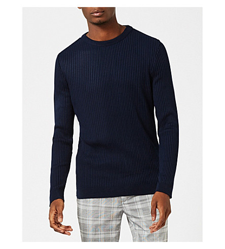 TOPMAN Ribbed knitted jumper (Dark+blue