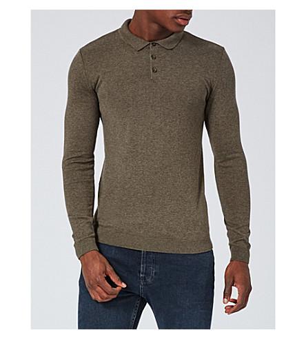 TOPMAN Muscle-fit cotton-jersey polo shirt (Khaki