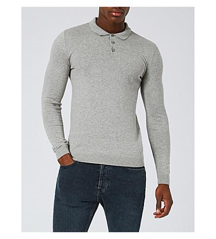 TOPMAN Muscle-fit cotton-jersey polo shirt (Light+grey