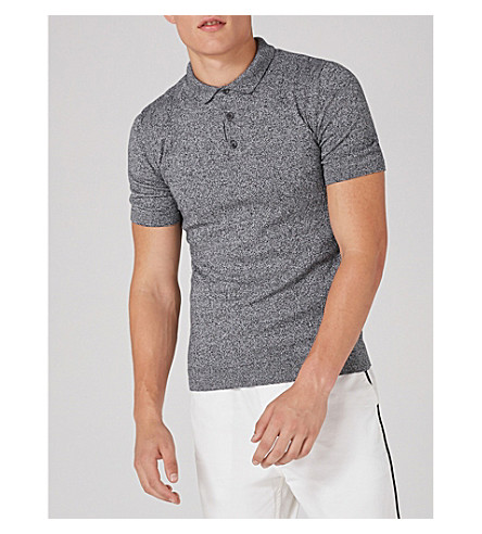 TOPMAN Muscle-fit cotton-jersey polo shirt (Grey
