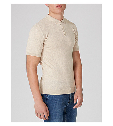 TOPMAN Muscle-fit cotton-jersey polo shirt (Stone
