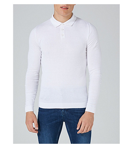TOPMAN Muscle-fit cotton-jersey polo shirt (White