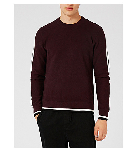 TOPMAN Sports tape woven jumper (Burgundy