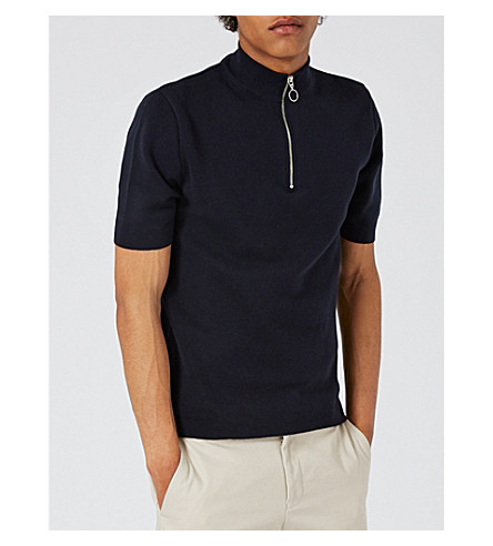 TOPMAN Zip-neck cotton jumper (Dark+blue