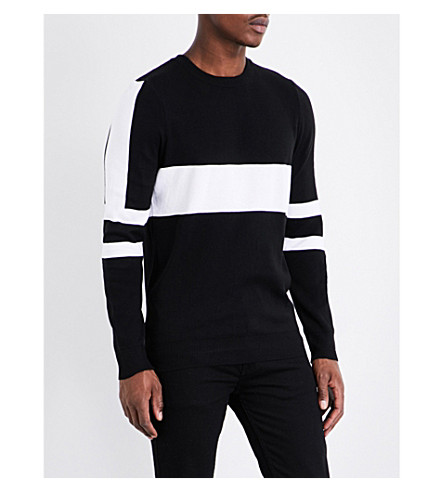TOPMAN Striped panel knitted sweater (Black