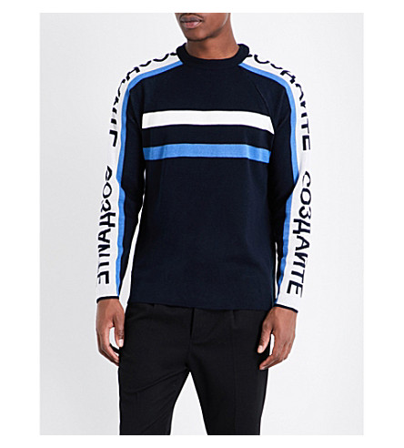 TOPMAN Typography-print knitted jumper (Dark+blue