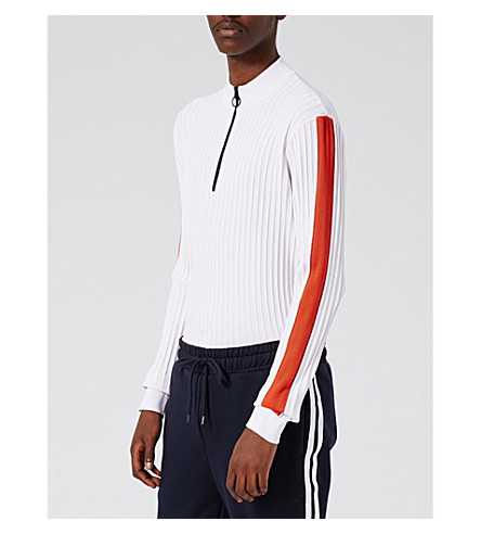 TOPMAN Ribbed knitted top (White