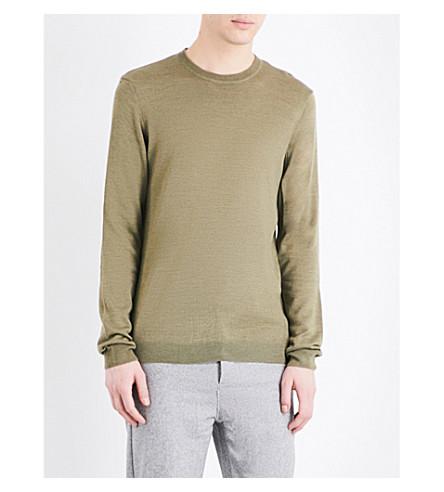 TOPMAN Topman Premium merino wool-blend sweater (Khaki