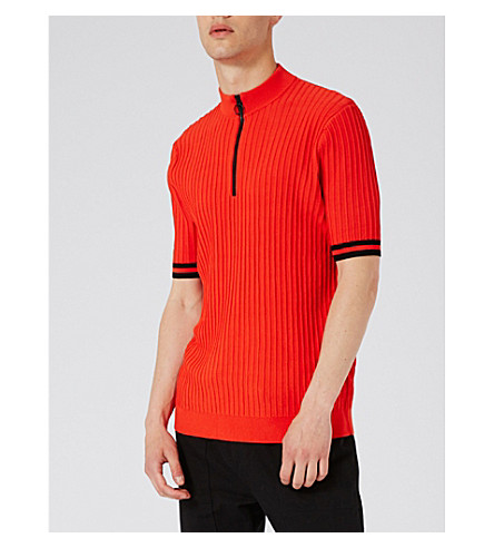 TOPMAN Zip-up slim-fit knitted top (Orange