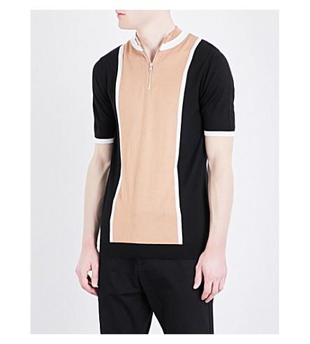 TOPMAN Stripe-detailed stretch-knit polo shirt (Stone