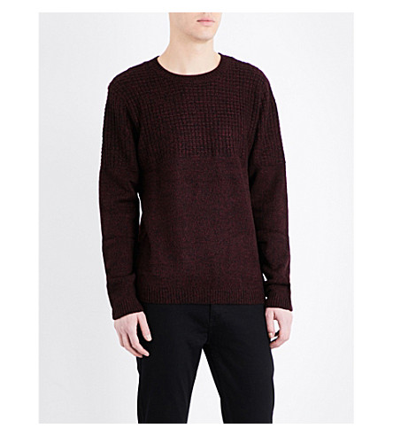 TOPMAN Textured yoke knitted jumper (Burgundy