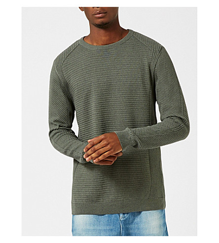 TOPMAN Engineer ribbed cotton jumper (Dark+blue