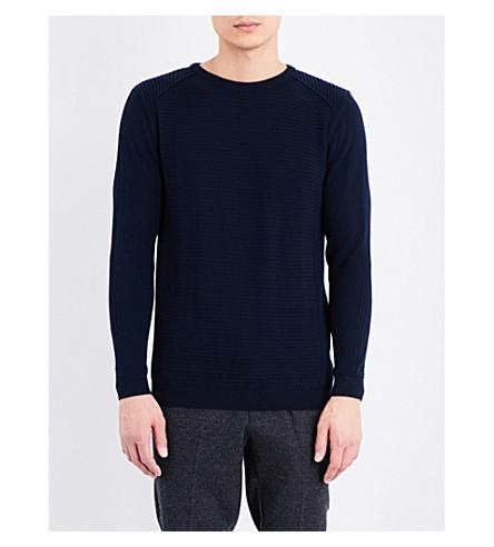 TOPMAN Crewneck ribbed slim-fit knitted jumper (Dark+blue