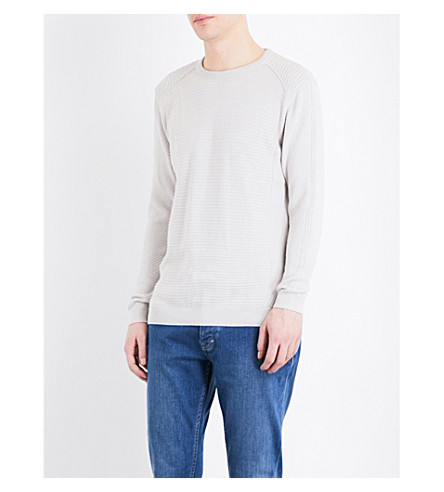 TOPMAN Ribbed slim-fit cotton jumper (Stone