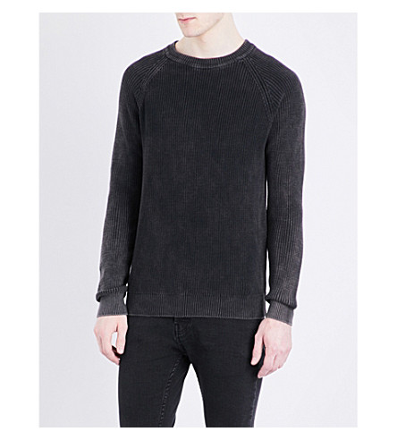 TOPMAN Acid-wash knitted cotton sweater (Dark+grey