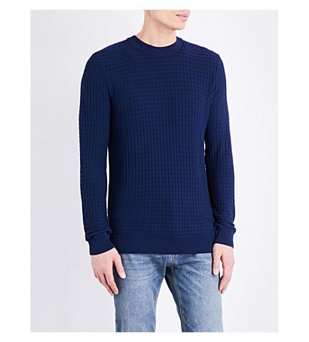 TOPMAN Grid-patterned boxy-fit knitted jumper (Dark+blue