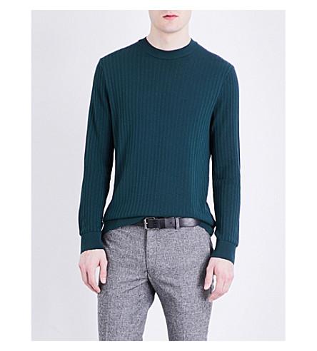 TOPMAN Textured knitted jumper (Dark+green