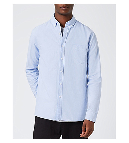 TOPMAN Classic-fit cotton Oxford shirt (Blue