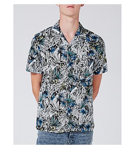 TOPMAN Floral-print classic-fit cotton shirt (Black