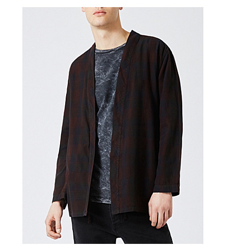 TOPMAN Classic-fit checked cotton kimono shirt (Black