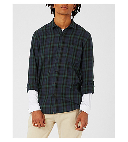 TOPMAN Black Watch cotton shirt (Dark+green
