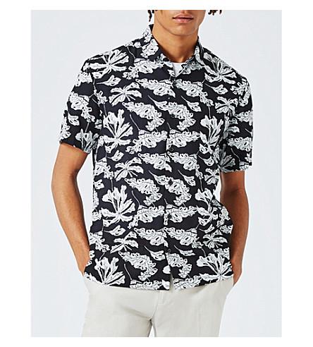 TOPMAN Japanese flower cotton-blend shirt (Black