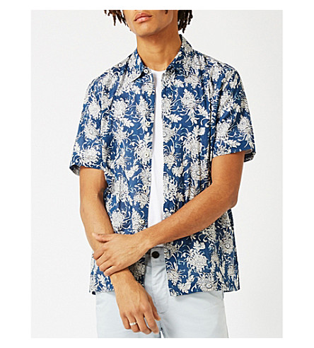 TOPMAN Chrysanthemum-print classic-fit cotton shirt (Blue