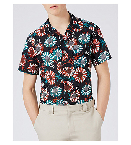 TOPMAN Sunflower-print cotton shirt (Black