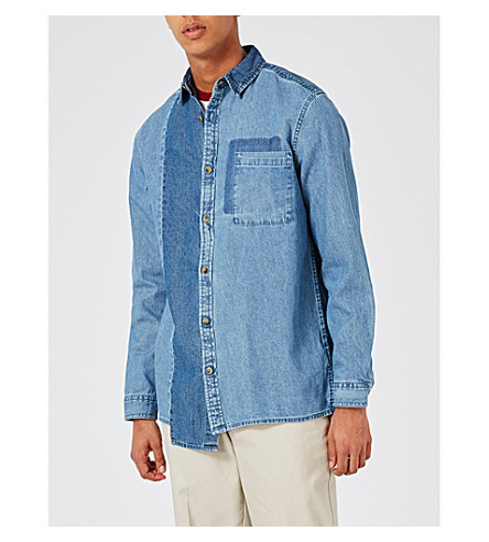 TOPMAN Panelled classic-fit denim shirt (Blue